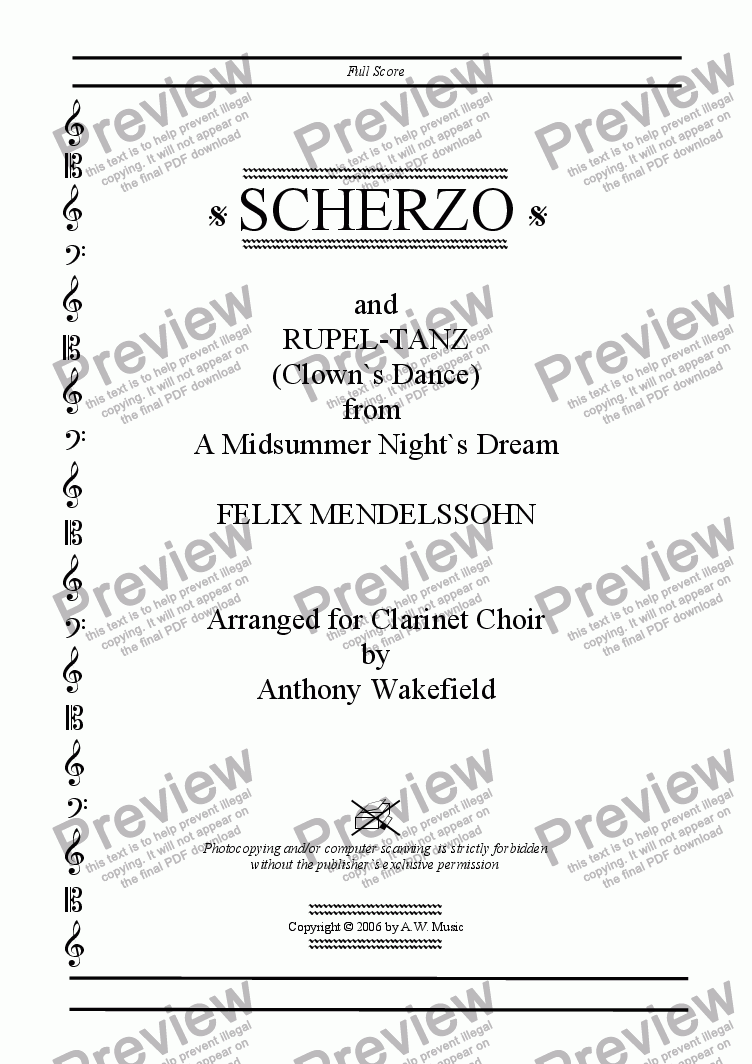page one of the Title Page part from Scherzo and Rupel-Tanz from `A Midsummer Night`s Dream`