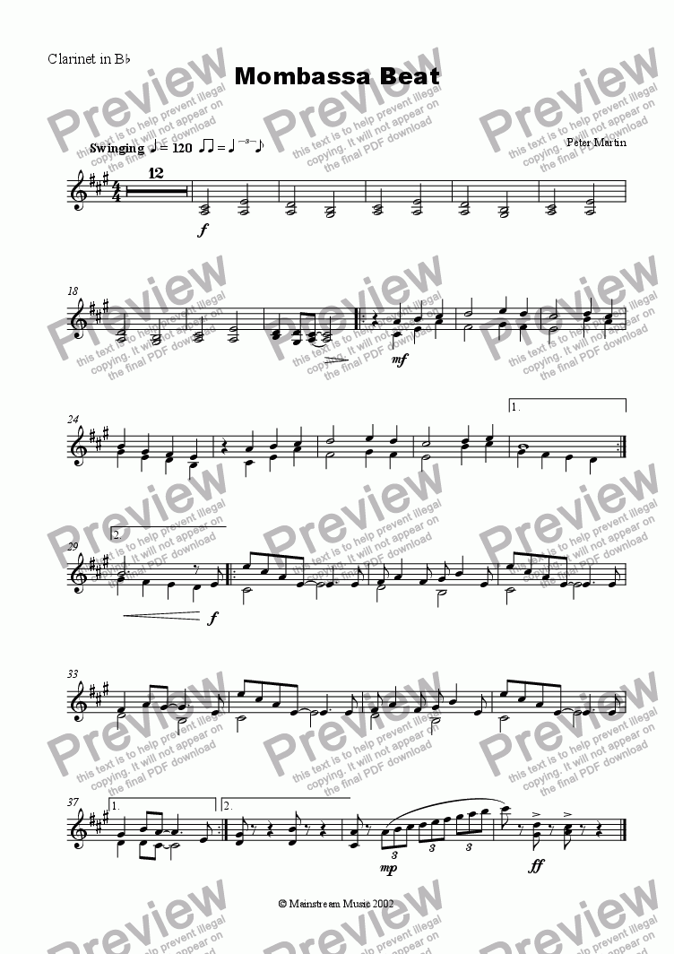 page one of the Clarinet in Bb part from Mombassa Beat