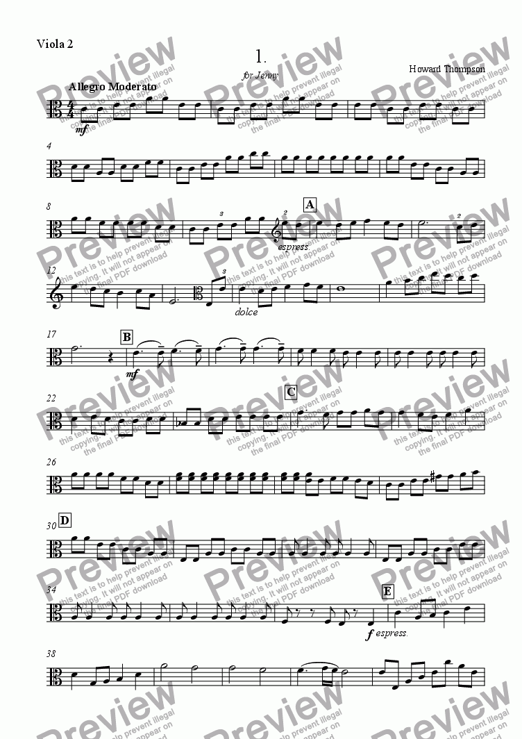 page one of the Viola 2 part from Au Revoir for Viola Quartet