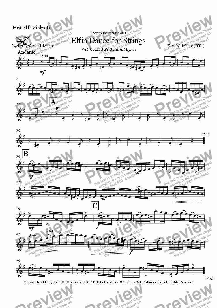 page one of the First Elf (Violin I) part from Elfin Dance for Strings