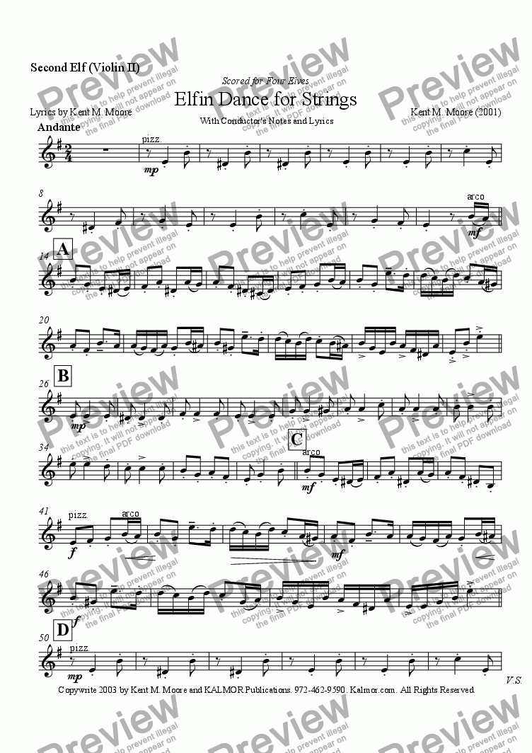 page one of the Second Elf (Violin II) part from Elfin Dance for Strings