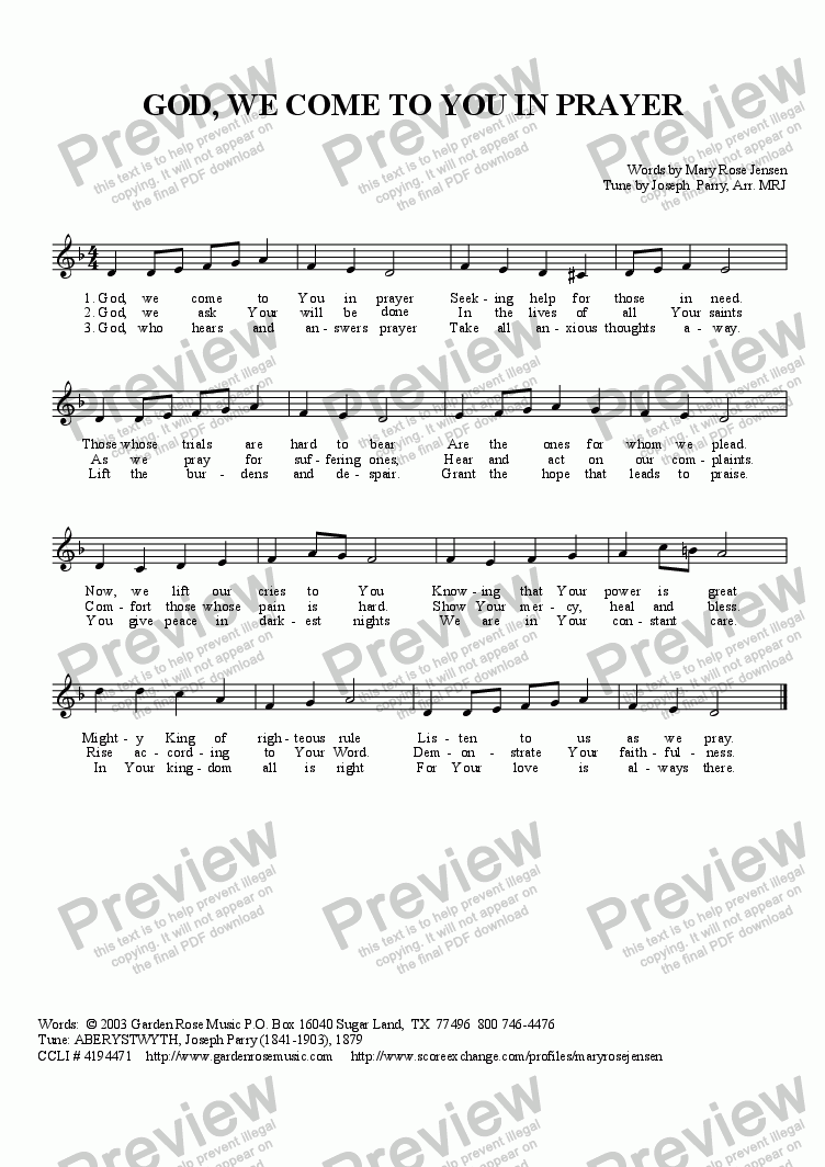 page one of the Lead sheet:  God, We Come to You in Prayer part from God, We Come to You in Prayer (ABERYSTWYTH)