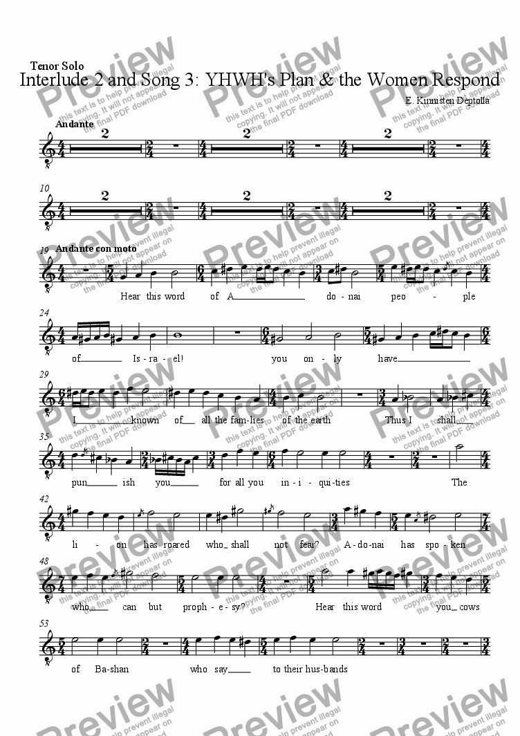 page one of the Tenor Solo part from Songs of Amos: Interlude 2 and Song 3: YHWH's Plan & the Women Respond