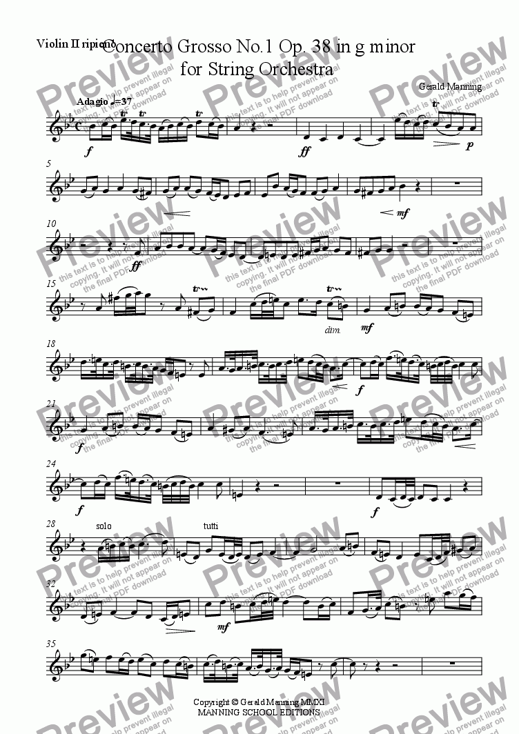 page one of the Violin II ripieno part from MANNING, G -Concerto Grosso No.1 Op. 38 in g minor for String Orchestra