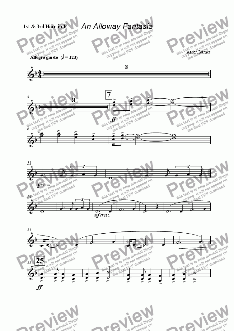 page one of the 1st & 3rd Horn in F part from Alloway Fantasia