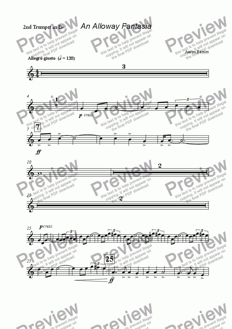 page one of the 2nd Trumpet in B^b part from Alloway Fantasia
