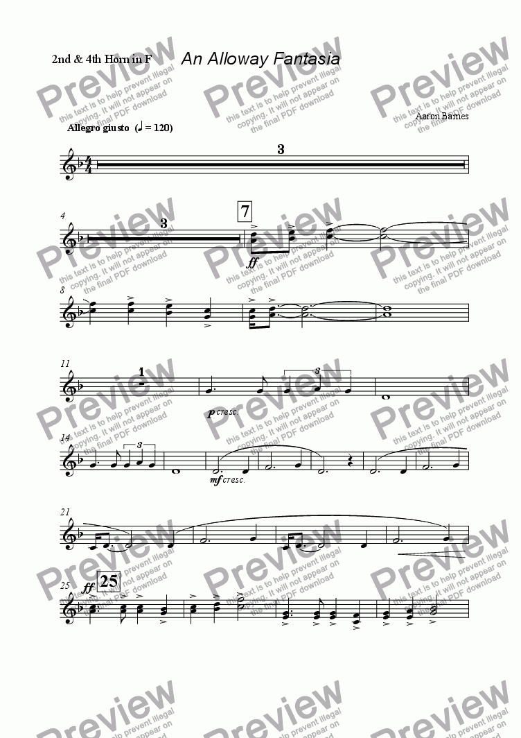 page one of the 2nd & 4th Horn in F part from Alloway Fantasia
