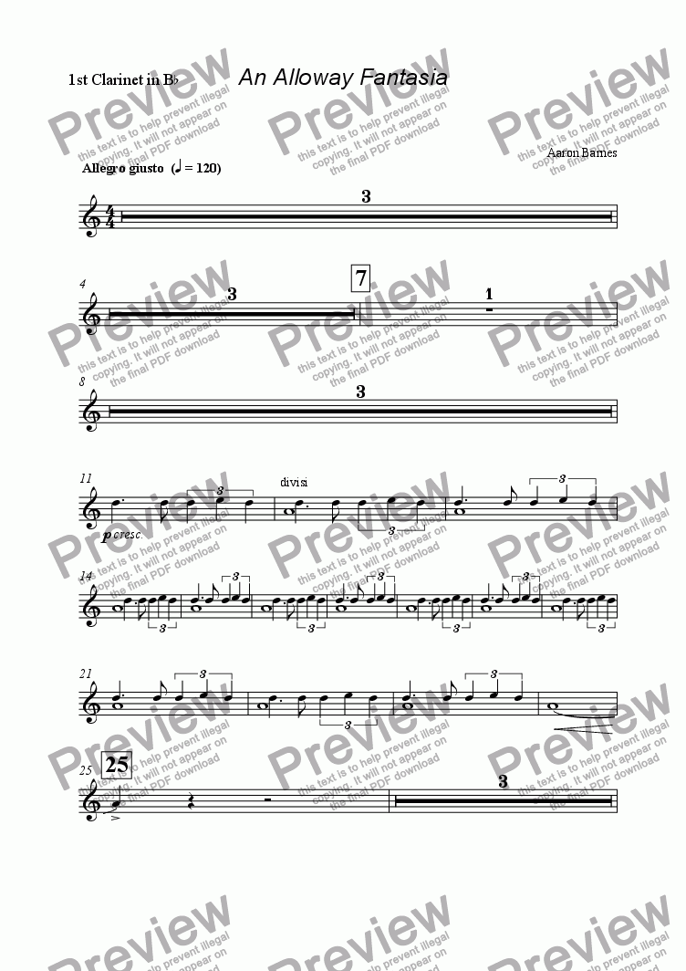 page one of the 1st Clarinet in B^b part from Alloway Fantasia