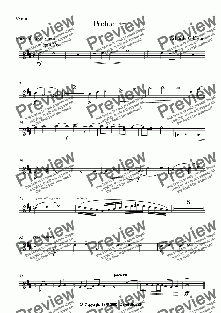 page one of the Viola part from Preludium