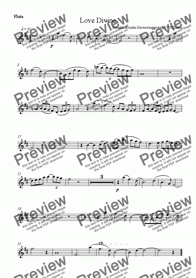page one of the Flute part from Brooks-Davies: O Love Divine: An instrumental prelude (fl, ob, organ)