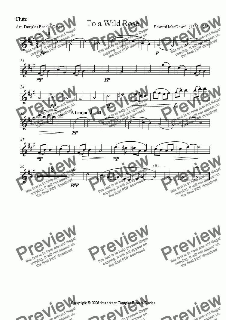 page one of the Flute part from MacDowell: To a Wild Rose, arr. for four C flutes