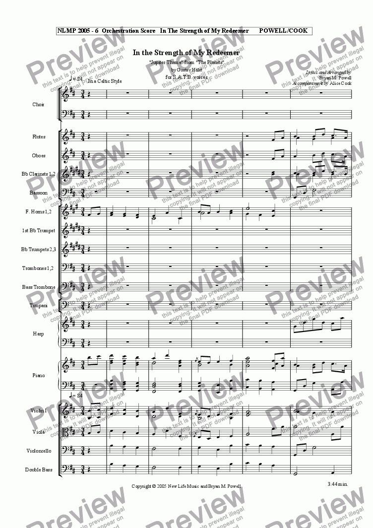"page one of the Choir part from In the Strength of My Redeemer ""Jupiter Theme"" from ""The Planets"""