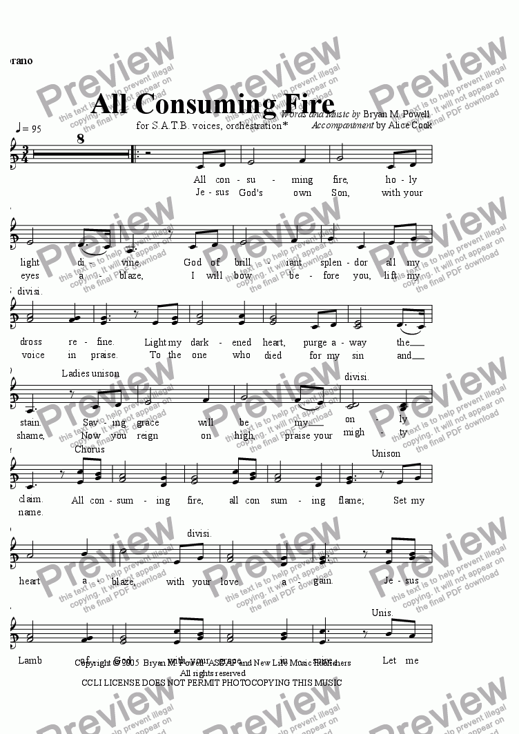 page one of the Soprano part from All Consuming Fire