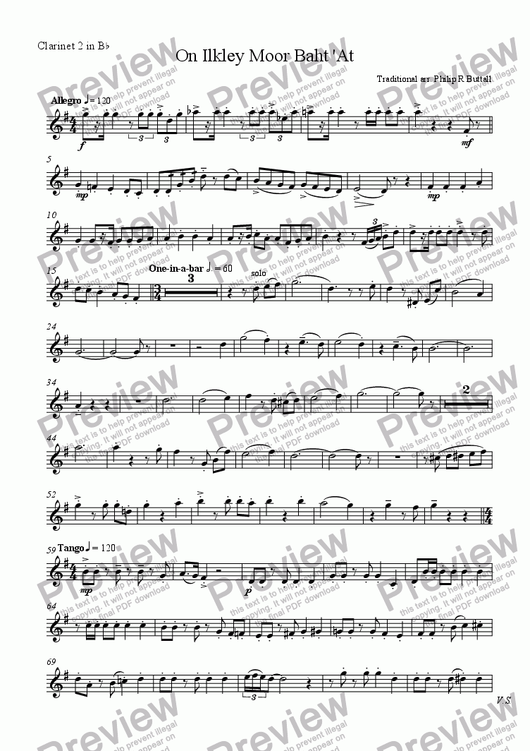page one of the Clarinet 2 in Bb part from On Ilkley Moor Baht 'At (Clarinet Choir)