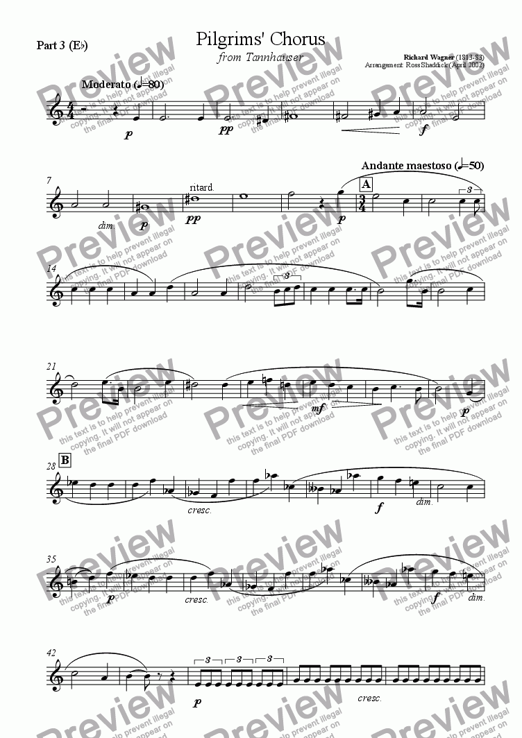 page one of the Part 3 in Eb part from Pilgrims' Chorus, from Tannhauser