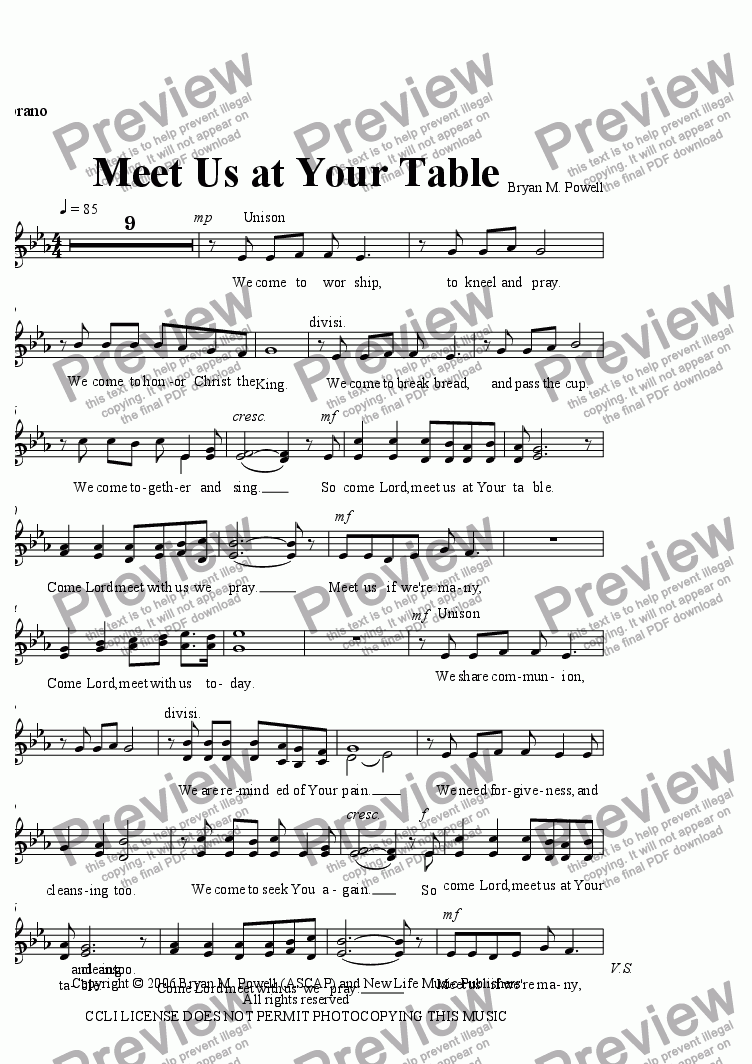 page one of the Soprano part from Meet Us at Your Table