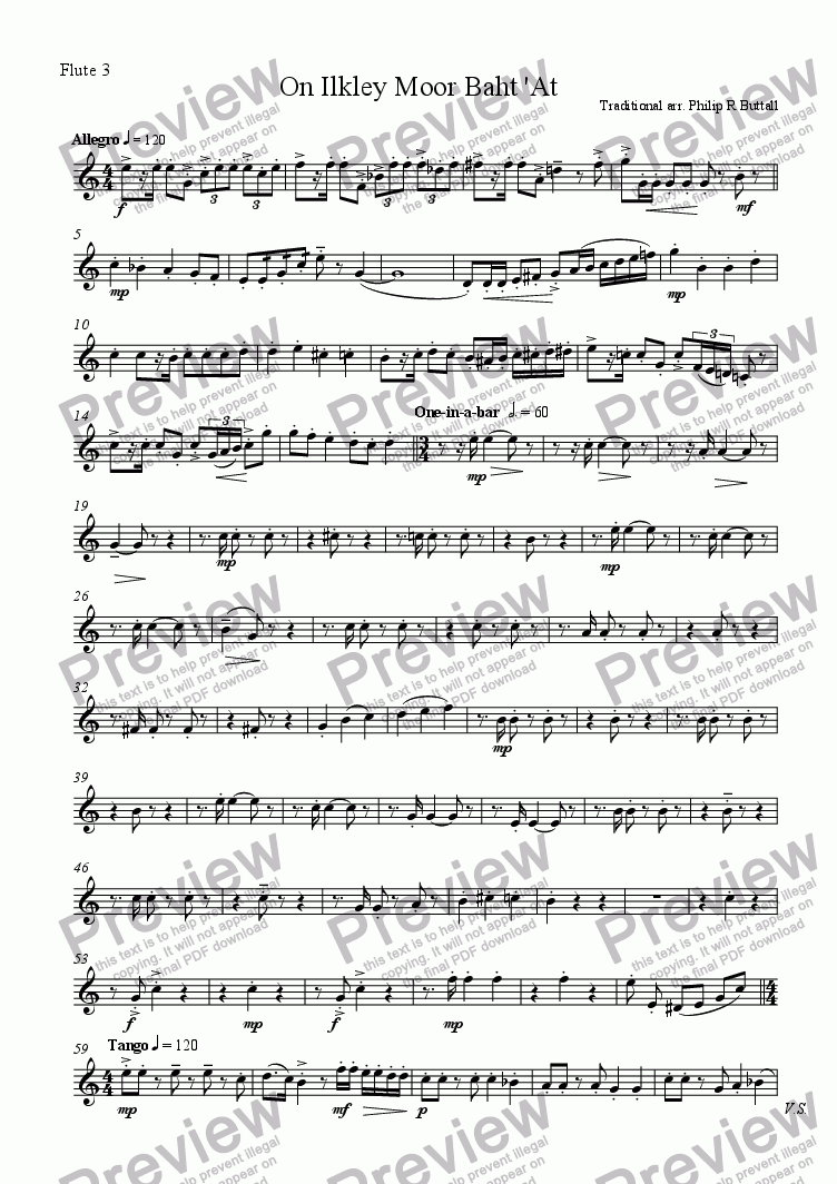 page one of the Flute 3 part from On Ilkley Moor Baht 'At (Flute Quartet)