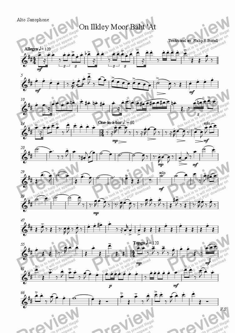 page one of the Alto Saxophone part from On Ilkley Moor Baht 'At (Saxophone Quartet / Quintet)