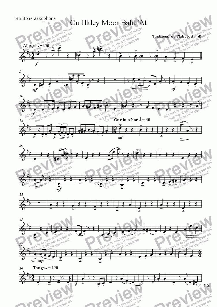 page one of the Baritone Saxophone part from On Ilkley Moor Baht 'At (Saxophone Quartet / Quintet)