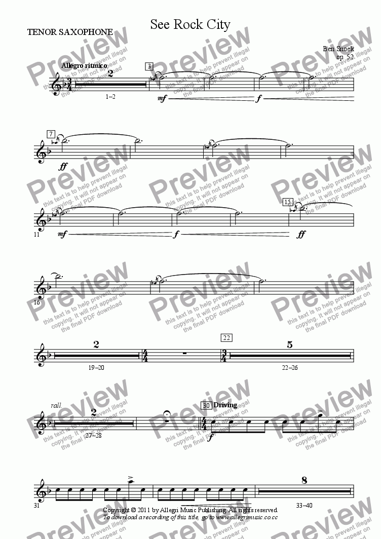 page one of the TENOR SAXOPHONE part from See Rock City