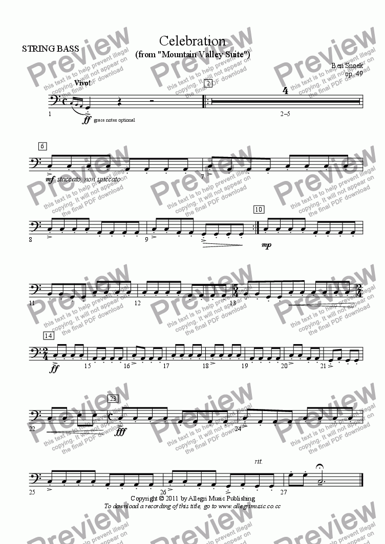 page one of the STRING BASS part from Celebration
