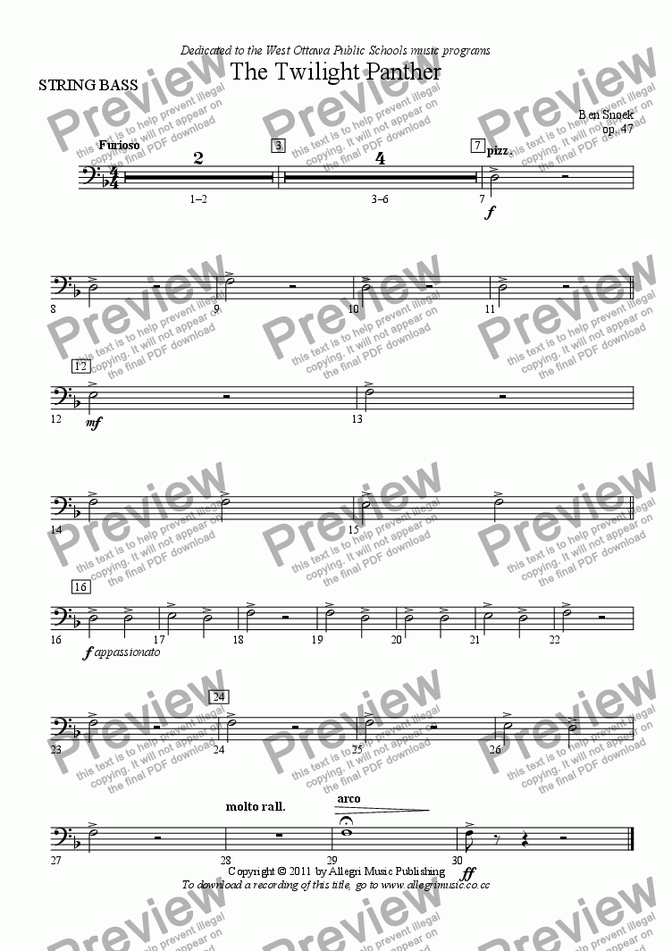 page one of the STRING BASS part from The Twilight Panther