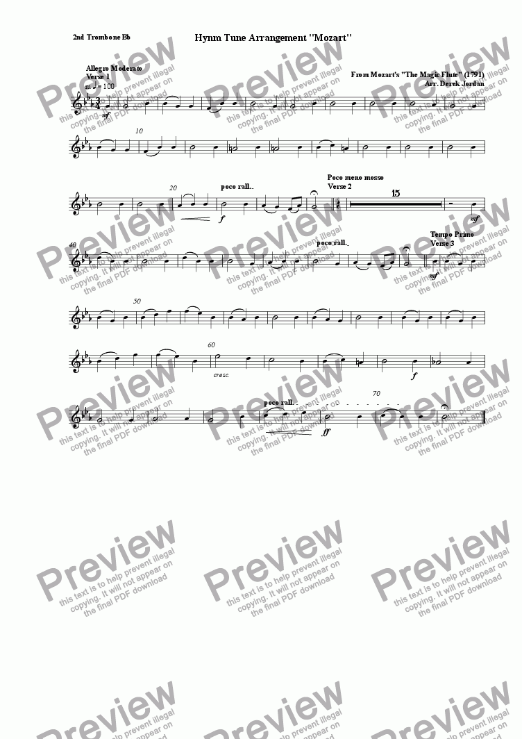 "page one of the 2nd Trombone Bb part from Hynm Tune Arrangement ""Mozart"""
