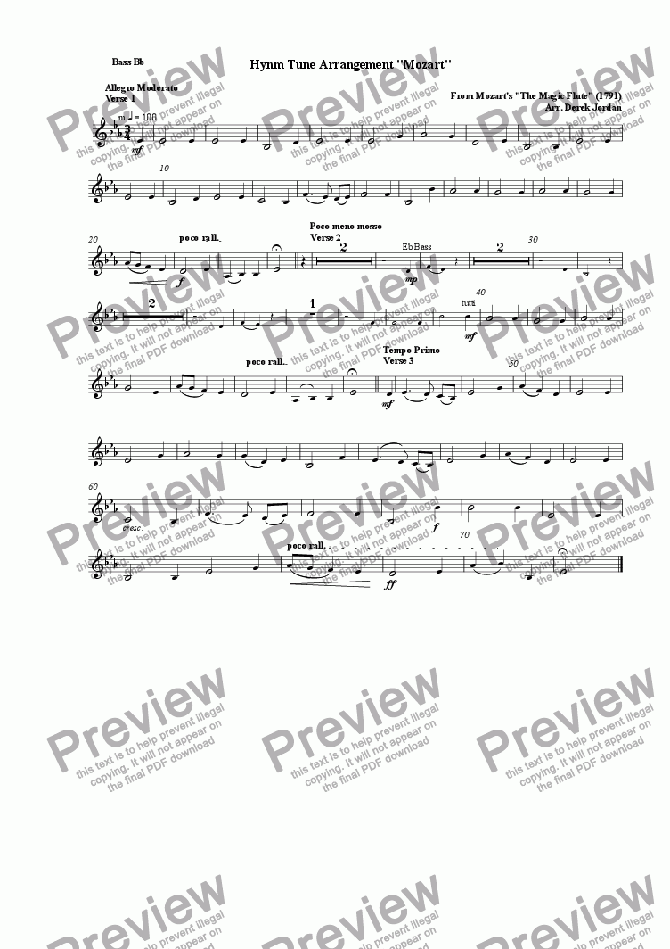 "page one of the Bass Bb part from Hynm Tune Arrangement ""Mozart"""