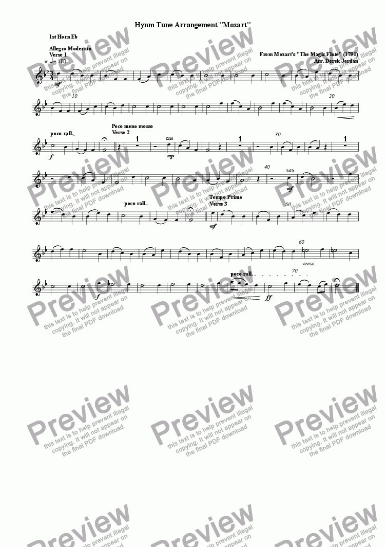 "page one of the 1st Horn Eb part from Hynm Tune Arrangement ""Mozart"""