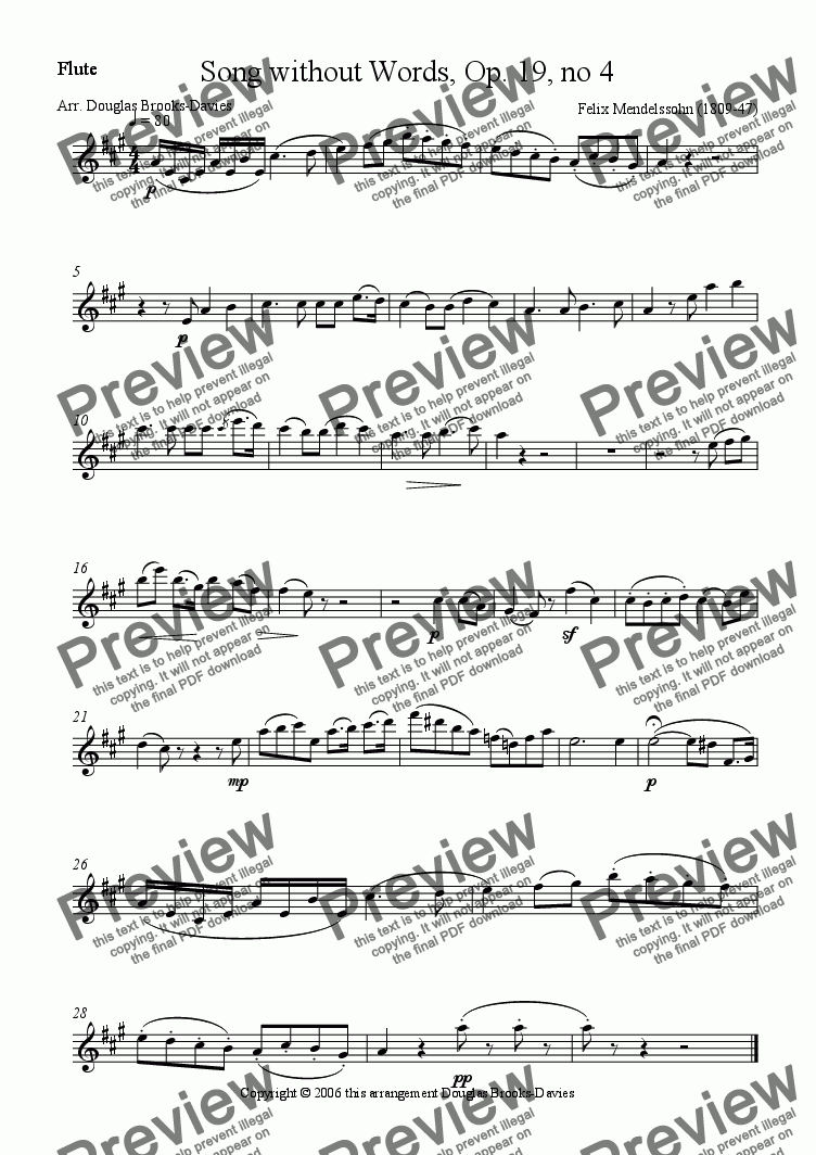 page one of the Flute part from Mendelssohn: Lieder ohne worte, Book 1, #4 in A for flute and piano