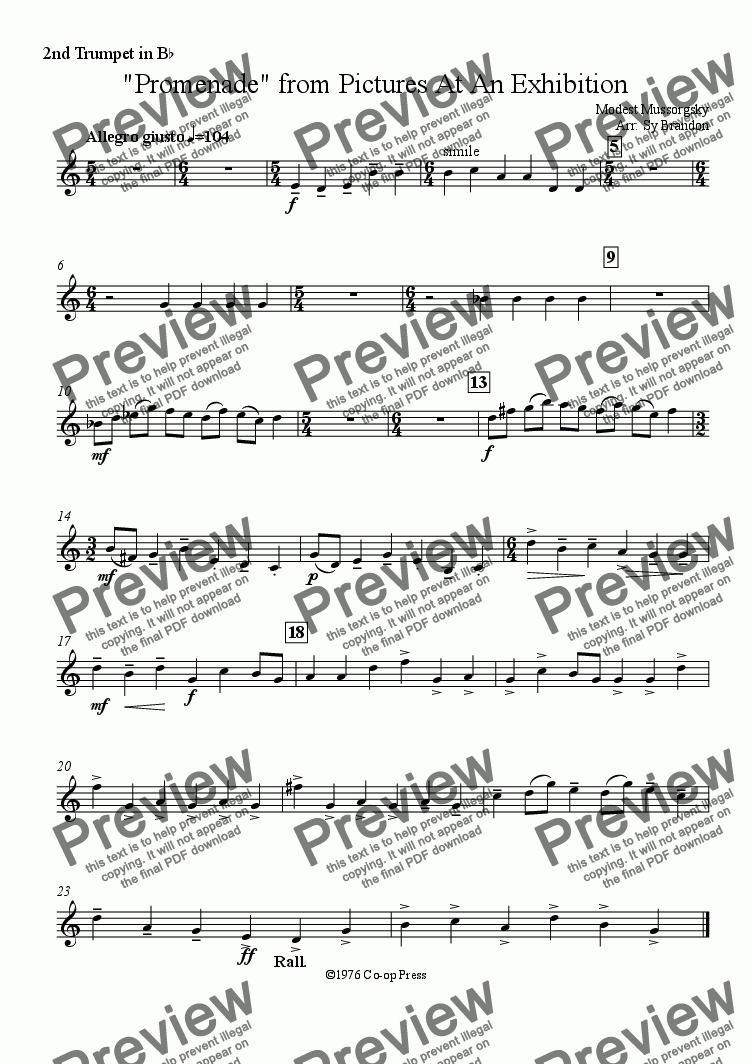 "page one of the Bb Trumpet 2 part from Promenade from ""Pictures At An Exhibition"""