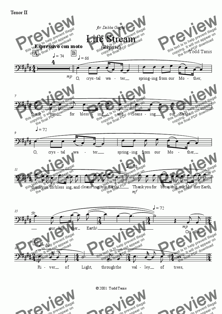 page one of the Tenor II part from Life Stream (Reprise) [piano-vocal solo-TTBB]
