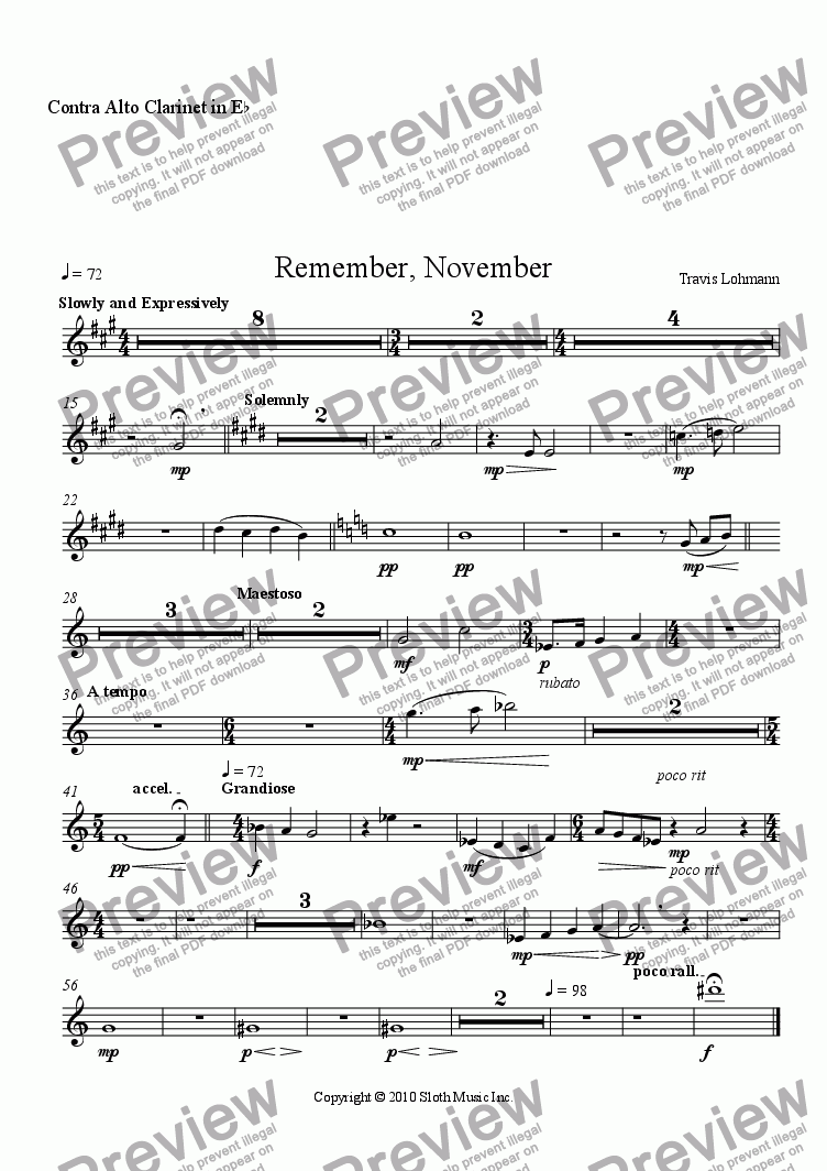 page one of the Contra Alto Clarinet in E^b part from Remember, November