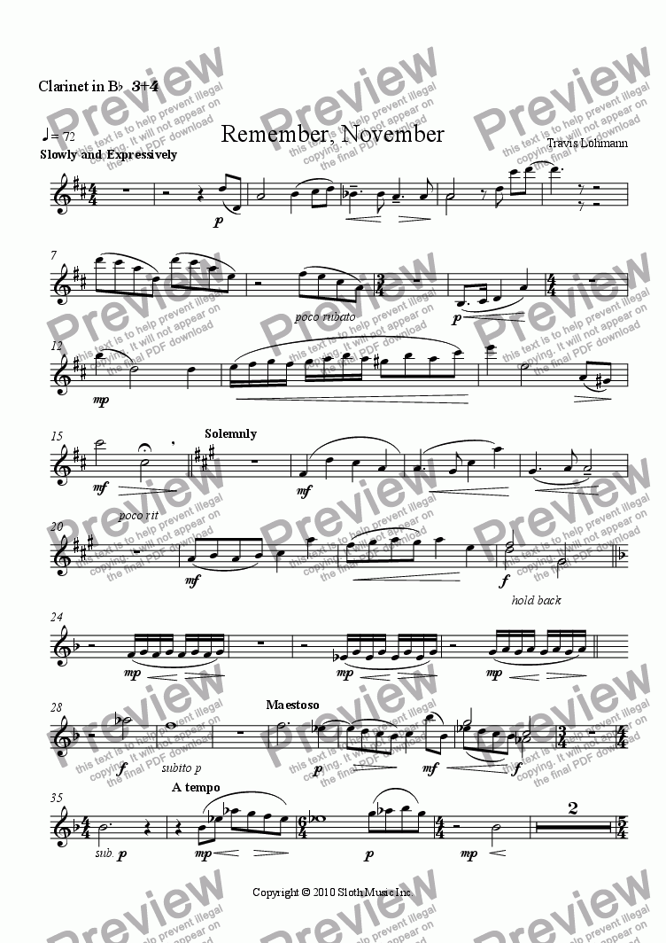 page one of the Clarinet in B^b^ ^3^+^4 part from Remember, November