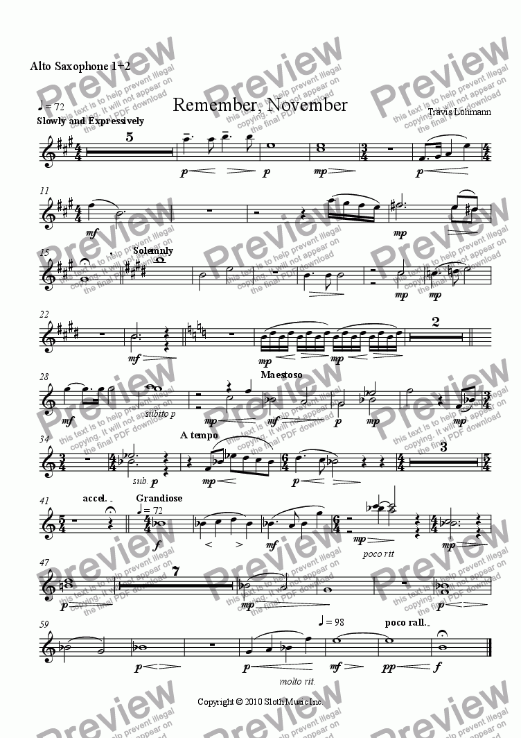 page one of the Alto Saxophone 1+2 part from Remember, November