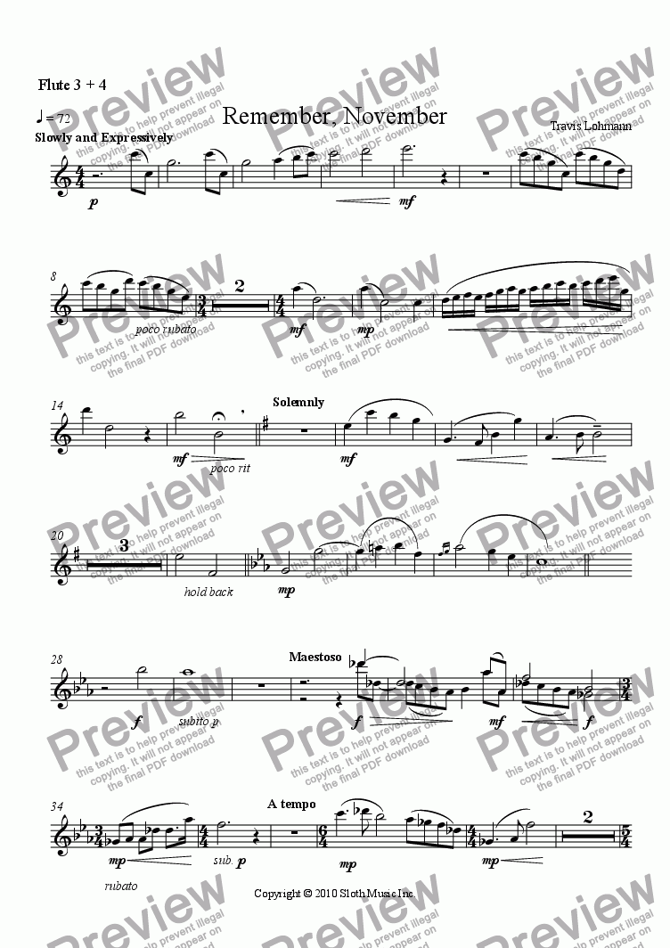 page one of the Flute 3 + 4 part from Remember, November