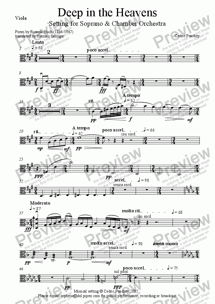 page one of the Viola part from Deep in the Heavens
