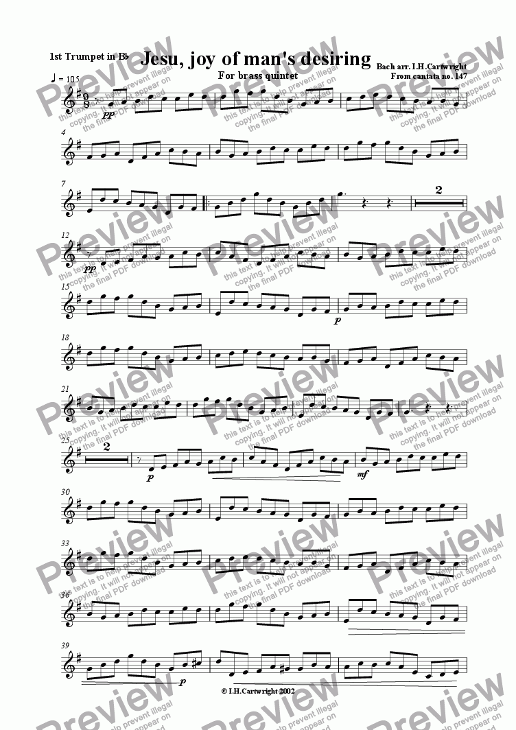 page one of the Trumpet I part from Jesu, joy of man's desiring for brass quintet