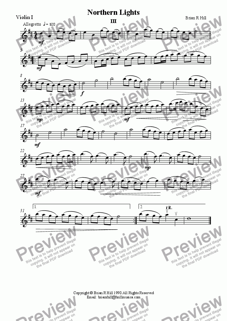 page one of the Violin I part from Northern Lights III