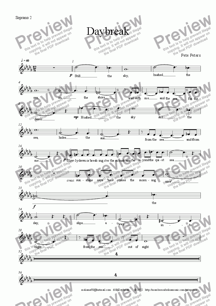page one of the Soprano 2 part from Daybreak ( S.S.A.A.+ Pno )