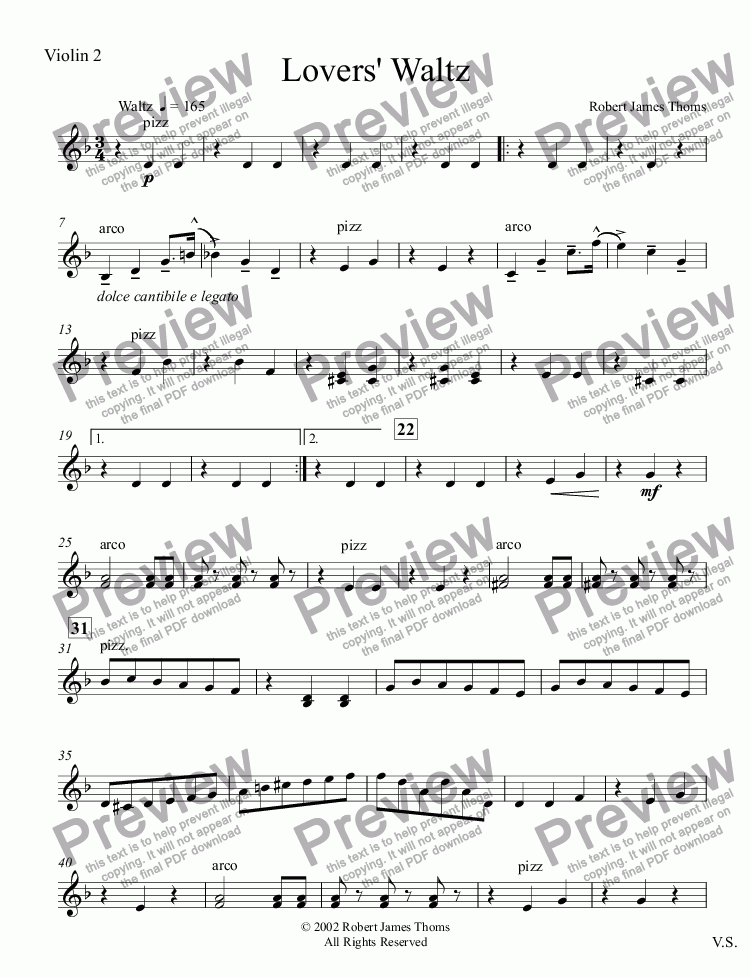 page one of the Violin 2 part from  Lovers' Waltz