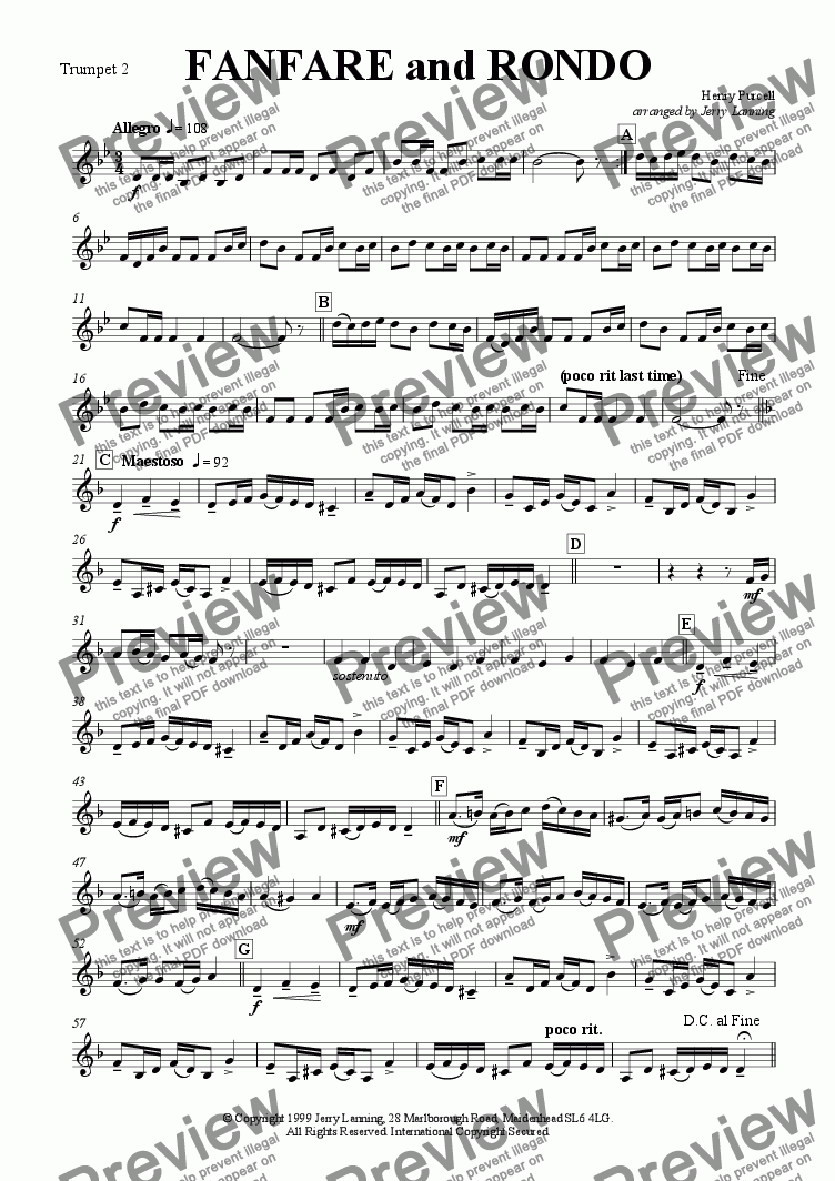 page one of the Trumpet 2 in Bb part from Fanfare and Rondo - Purcell (brass quintet)