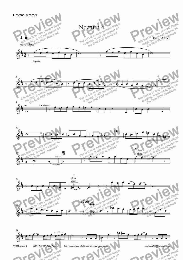 page one of the Flute Recorder or Oboe part from Nocturn 4 [solo inst + pno]