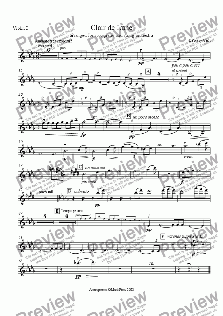 page one of the Violin I part from Clair de Lune for piano and strings