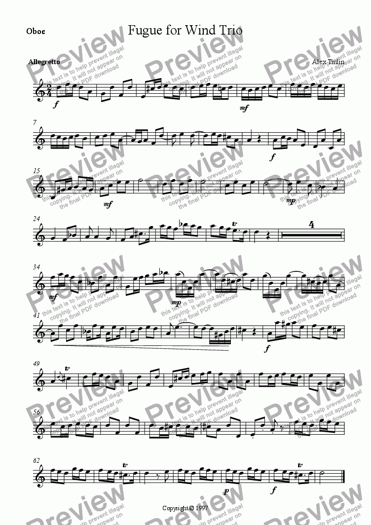 page one of the Oboe part from Fugue for Wind Trio