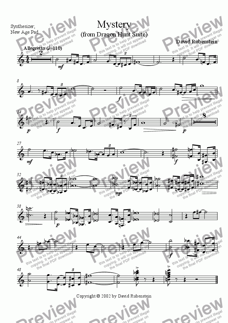 page one of the Synthesizer (New Age Pad) part from Mystery (for jazz band)