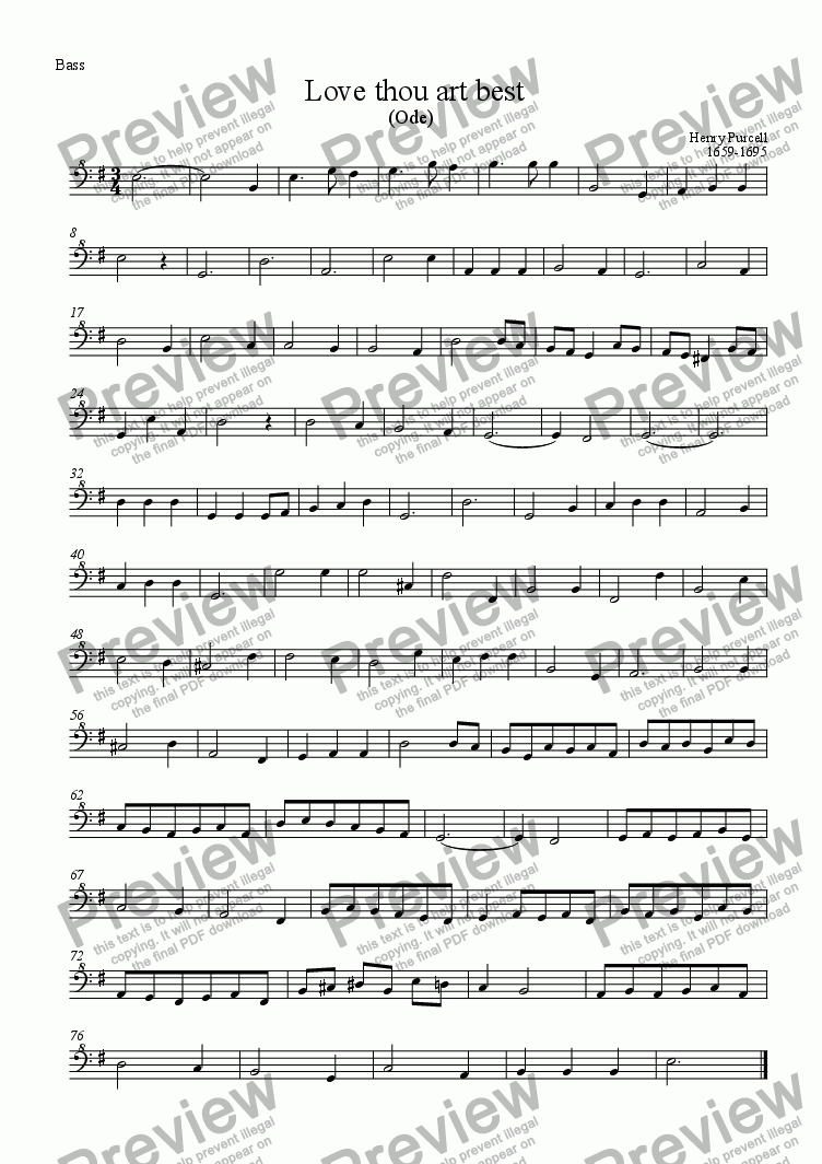page one of the Bass part from Love thou art best (Purcell)