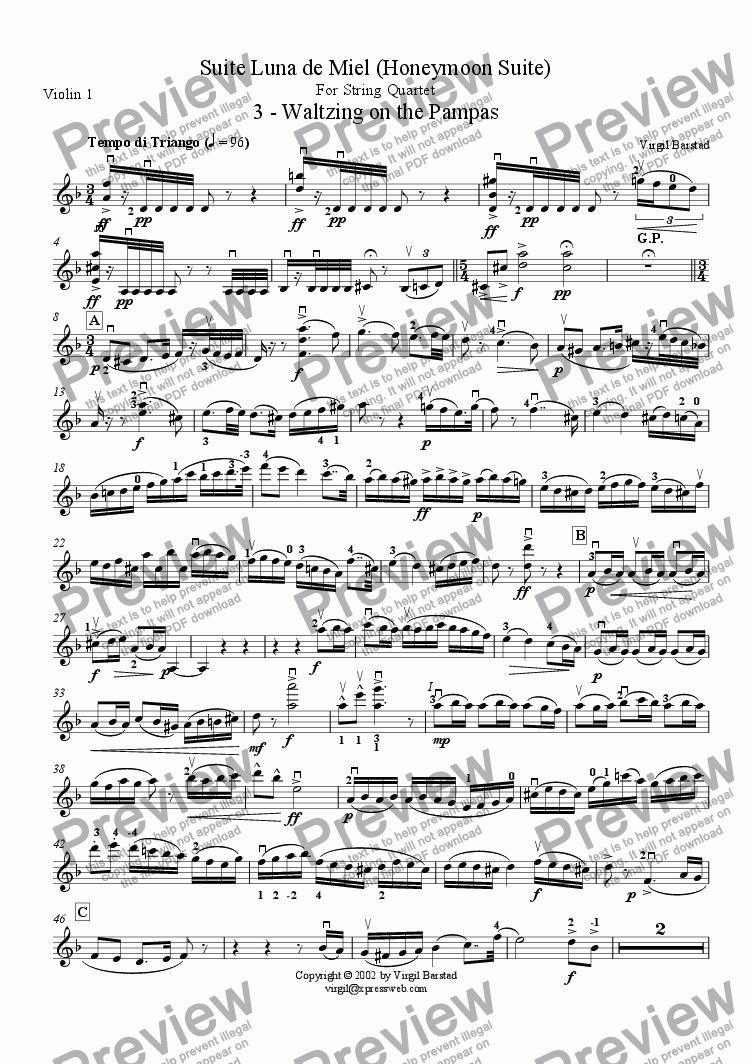 page one of the Violin 1 part from 3 - Waltzing on the Pampas