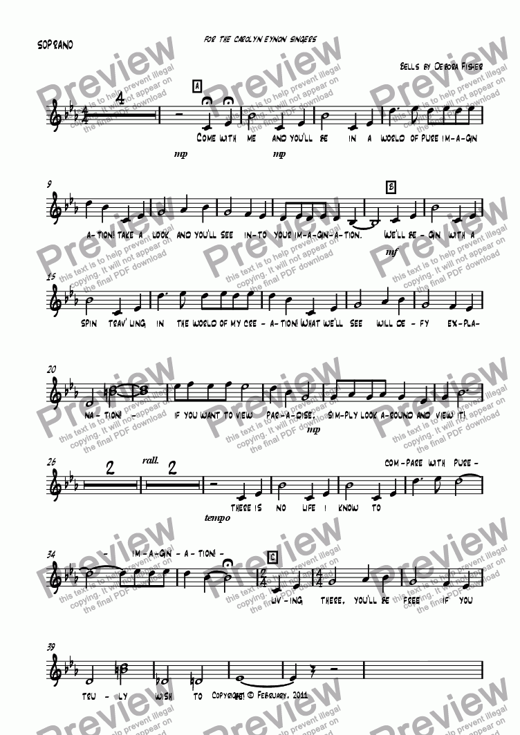page one of the SOPRANO part from Pure Imagination