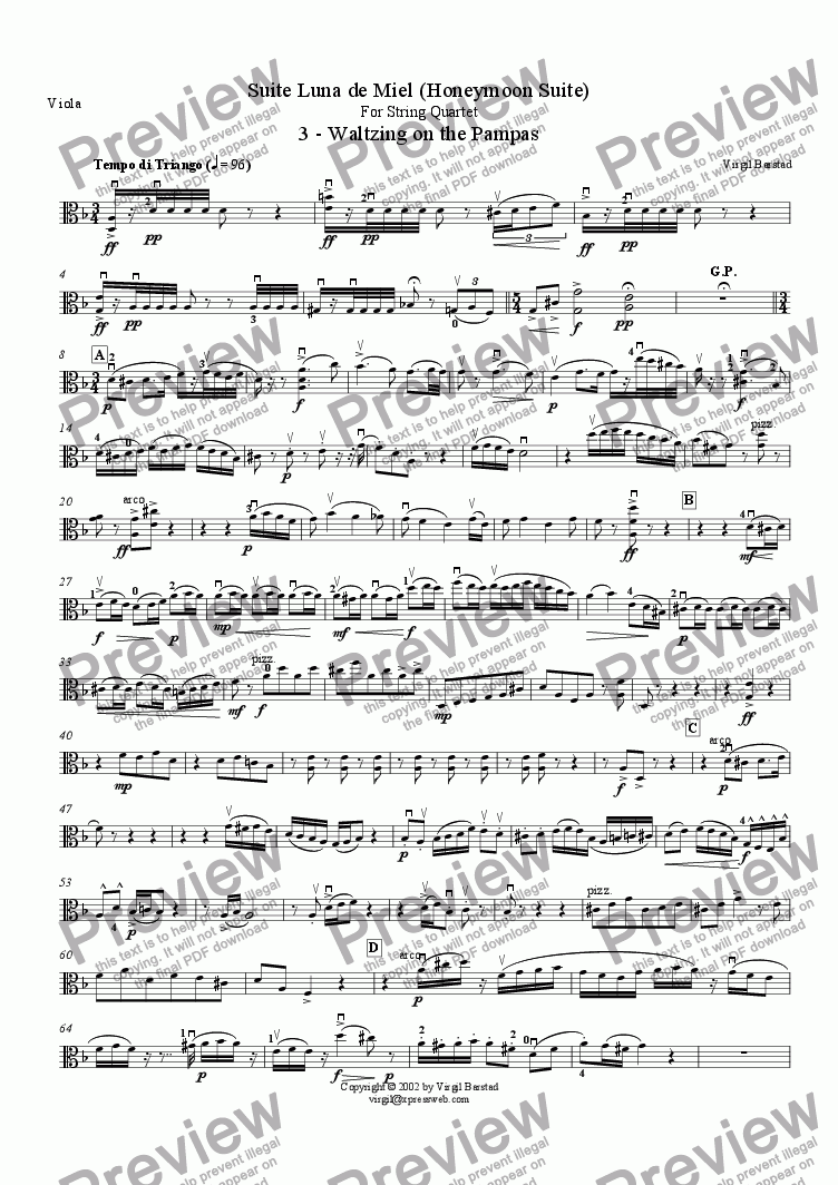 page one of the Viola part from 3 - Waltzing on the Pampas